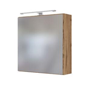 Spiegelschrank Badezimmerspiegel Badspiegel LED-Einbauleuchte 60 cm wotan-eiche