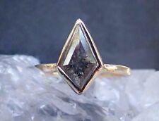 14k solid Gold ring natural rose cut diamond ring wedding ring geometric DER411