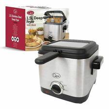900W Deep Fat Fryer 1.5L Litre Chip Pan Basket Non Stick Oil Compact Brushed