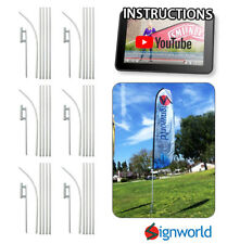 16' TALL SLEEVE SWOOPER FLAG POLE KIT W/ Spike Flutter Feather Banner 6 PCS