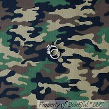 BonEful Fabric FQ Cotton Quilt Brown Green Camo VTG Army Boy Military Camouflage
