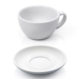 12 tlg. XL Cappuccino Tassen Set - Weiß, 280 ml, Porzellan - Cappuccinotassen