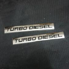2x Chrome TURBO DIESEL Metal Sticker Badge Emblem Engine 3D Hatckback suv Racing