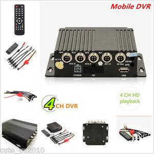 Mini 4CH Car Vehicle AHD Mobile DVR Realtime Video/Audio Recorder SD Card Remote