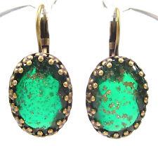 SoHo® Ohrhänger Ohrringe vintage bohemia Glas oval grün gold handgemacht bronze