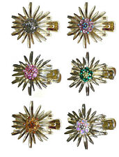 Crystal Claw Clip Sunbursts in Pale Gold Color Plating GL86654-GL18g