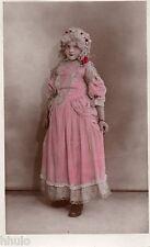 BJ241 Carte Photo vintage card RPPC Enfant déguisement robe reine péruque ancien
