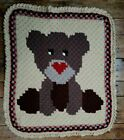 Handmade Crochet Baby Blanket Teddy Bear Hand Knit Throw