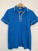 Mens Polo Top size L Topman Blue Short Sleeve Casual <JJ11803