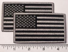 """Pair (2): American Flag Grey Embroidered Patch 3.5x2"""" - Patriotic Pride Usa Gray"""