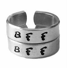 Set BFF Rings with Two Initials, Best Friend Forever Matching Rings, Hand Stamp