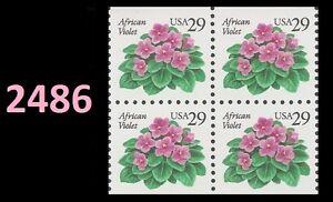 US 2486 African Violet 29c block (4 stamps) MNH 1993