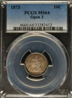 1873 - 10 Cent Liberty Seated Dime - PCGS MS64 Open 3 Variant - 4660