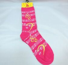 Womans Music Crew Socks Hot Pink Silver Metallic Thread Size 9-11 Staff Clefs