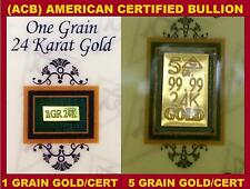 ACB 24k GOLD BULLION 99.99 With Certificates 5 & 1GRAIN BARS COMBO PACK +