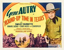 GENE AUTRY gun in hand * ROUND-UP TIME IN TEXAS * fantastic 11x14 TC print 1937