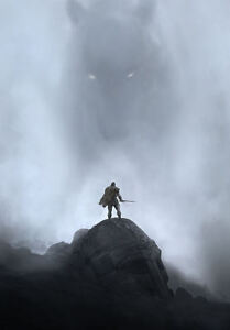 Framed Print - Giant Misty Wolf Creature About to Battle a Swordsman (Picture)