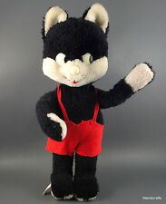 Schuco Cat Doll Black White Dralon Plush 10in Bigo Bello 1960s Bendy Foot Label