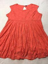 Torrid Plus Size 4 Coral Lace Open Peep Back Swing Dress Womens