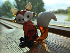 Small 2� X 2.5� hand crafted colored glass fox with scarf figure amber & white