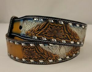 """American EAGLE Tooled LEATHER Men's WESTERN Belt 38"""" Made in USA Dixie Leather"""
