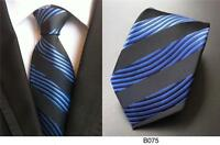 Blue and Black Wavy Striped Patterned Handmade 100% Silk Wedding Tie
