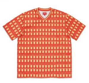 Supreme Grid Soccer Jersey, Orange, Size Medium (M), 100% Authentic & Brand New