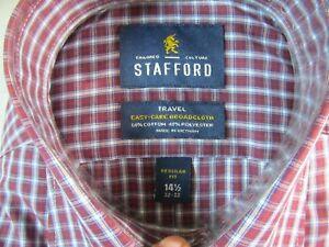 NWT STAFFORD EASY CARE BROADCLOTH  REG. FIT DRESS SHIRT, Burgundy Multi Plaid