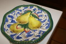 """Fitz Floyd Classics Florentine Canape Fruit (Yellow Pears) Wall Plaque 9"""" W/Han"""