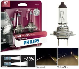 Philips VIsion Plus 60% H7 55W Two Bulbs Head Light Low Beam Upgrade Replace OE
