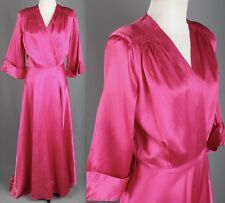 VTG 1940s AS-IS Women's Bias Cut Satin Wrap Dressing Gown 40s Glamour #1538 Long