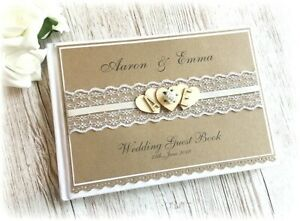 Rustic Vintage Handmade Personalised Wedding Guest Book Wooden Heart Rose & Lace