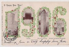 Large Numbers 1906 New York Sites Times Bldg Subway Flat Iron New Year Postcard