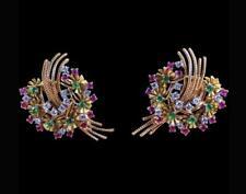 Retro Diamond, Ruby, Emerald & 14K Yellow Gold Over Floral Wreath Motif Earrings