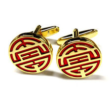 Gold Red Chinese Longevity SHOU Live Long Life Symbol CUFFLINKS Present GIFT BOX