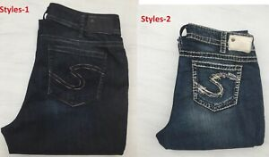 """New Silver Jeans SUKI 17"""" Mid-Rise Relaxed Hip Curvy Fit Slim Bootcut F10301B"""