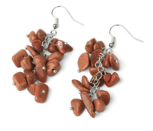 Gold sand stone earrings pair Reiki Healing Amulet Dangle jewelry Silver P