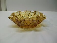 Vintage Fenton Amber Glass Thumbprint Pattern Crimped Edge Bowl