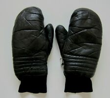 Vintage Sports West Black Leather Insulated Mitten Gloves Women Large Men Small