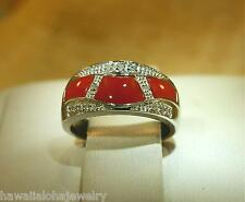 SOLID 14K WHITE GOLD GEOMETRIC CABOCHON CUT RED CORAL 0.13CTS DIAMOND RING 7 #1