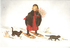 MINT Tasha Tudor VINTAGE Christmas Card MINT Laura in the Snow Granddaughter