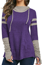 New listing iChunhua Long Sleeve Hoodie Pullover Sweatshirt Patchwork Striped Jumper with S