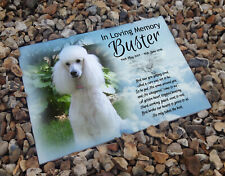 Personalised headstone memorial plaque, grave marker, ceramic tile, Poodle dog