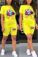 Women 2Pcs Colorful Lip Short Sleeve Round Neck T-Shirt Blouse Skinny Shorts Set