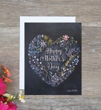 Handmade Mother's Day card heart flower chalk drawing next day free shipping!