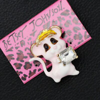 Betsey Johnson Enamel Crystal Little Mouse Charm Anlmal Brooch Pin Jewelry Gift