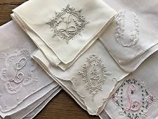 A+ Vintage Lot 5 Madeira Style Embroidered Hankies Handkerchiefs Monogram L