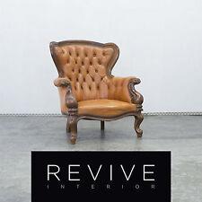 Chesterfield Leder Sessel Orange Braun Echtleder Vintage Stuhl Holz Retro #2485