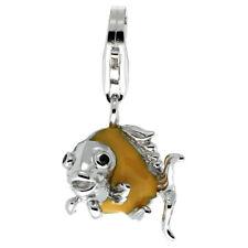 Sterling Silver Enameled ANGELFISH 3D Charm w/ Lobster Clasp for Bracelet