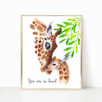 Nursery Print Safari Jungle Baby Giraffe, Baby Girl Boy Nursery print Wall Art